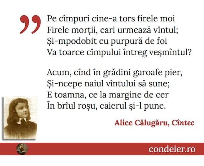 poem Alice Călugăru