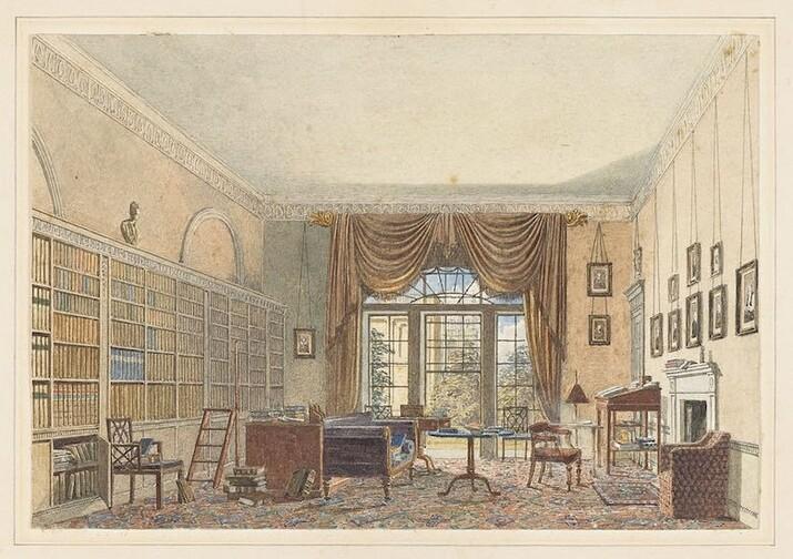 Biblioteca, interior, acuarela